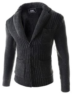 (CEC04-CHARCOAL) Mens Slim Fit Notched Lapel Chest Pocket Corduroy 3 Button Cardigan
