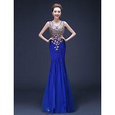 Trumpet/Mermaid Straps Floor-length Lace Evening Dress – USD $ 69.99