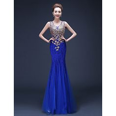 Formal Evening Dress - Royal Blue / Ruby Plus Sizes Trumpet/Mermaid Straps Floor-length Tulle / Lace – USD $ 60.19