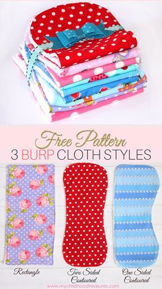 FREE printable burp cloth pattern for 3 different styles. Enjoy!