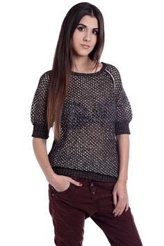 Golden open knit sweater with 3/4 sleeve