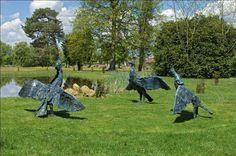 Les Cormorans de Martine Kerbaol -  Exposition Grands Formats jusqu'au 28 octobre, 1er parcours en plein air d'art contemporain, sculpture (Parc du Domaine des Roches, Briare - Loiret).