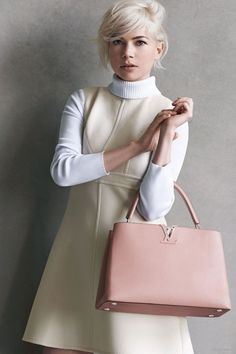 60s inspired dress and turtleneck / Michelle Williams Louis Vuitton