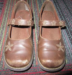 b4d8413c9 Details about 5 Size Youth Girls Kids shoes Sonoma brand Mary Jane style  Brown Leather Flats