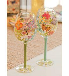 Madison's Garden Hand painted Wine Glasses