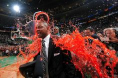 The first NBA coach to be dunked with Gatorade was Doc Rivers of the Boston Celtics after they won the 2008 NBA Finals. Paul Pierce dumped a cooler full of red Gatorade on Rivers and it has remained a tradition after winning the NBA Finals ever since.
