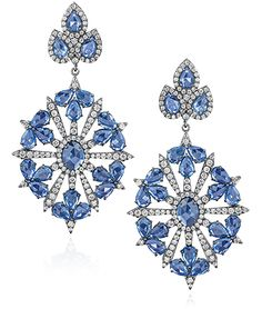 Cellini Jewellers - Sapphire and Diamond Drop Earrings - Edwardian-inspired pendant drop earrings, with center starburst diamond motif surrounded by pear-shaped blue sapphires; set in 18-karat black gold