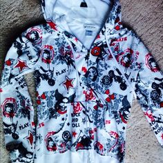 Hoodie - Sports and rock and roll CONTACT BEFORE BUYING • Edgy, and comfy! Never worn! Very soft inside! Excellent condition. Fits Small - I'm 5' tall (modeled in photos). Sweaters