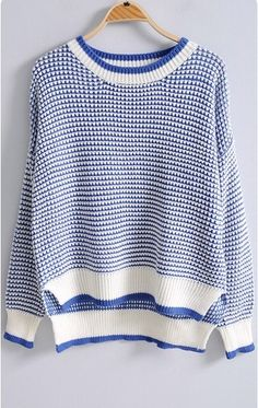 Blue White Striped Long Sleeve Loose Sweater