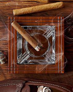 Mahogany and Crystal Ashtray / Cigar Ashtray / by LuxuriousWood, $85.00