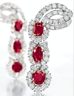 Cartier ruby & diamond ear pendants