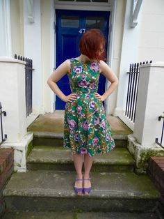 Green and purple cotton floral emery dress | Dolly Clackett