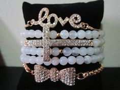 Arm Candy Pack Beaded CrossRhinestoneLove Chain by BNychele, $30.95