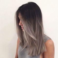 Ombré smoky grey hair color