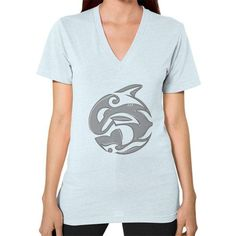 Diving Killer Whale Tattoo in Grey V-Neck (on woman)