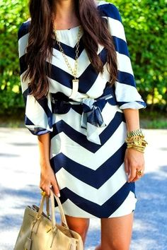 Adorable Blue  White Chevron Dress | Fashionista Tribe