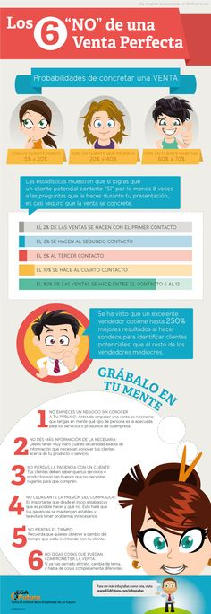 "Los 6 ""NO"" de una venta perfecta #infografia #infographic #marketing"