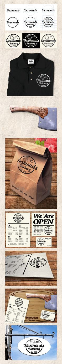 The Re-branding of 'Dezmonds Butchery'. The whole identity was created from scratch and designed in a vintage retro style. The logo and icons are raised on texture cream card stock. The logo was burned onto the wood grain. Brand Identity, Logo Branding, Logos, Butcher Shop, Dog Logo, Freelance Graphic Design, Brand Packaging, Carne, Retro Fashion