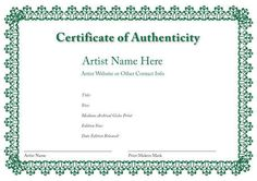 Blank Certificate of Authenticity Limited Edition ...