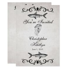 Beach Wedding Reception Vintage Shark ~ Jellyfish Wedding Reception Invite