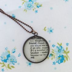 New to roseylittlethings on Etsy: Friend word necklace   Friend pendant one of a kind vintage dictionary word necklace gift for a friend friend keepsake necklace (20.00 USD)