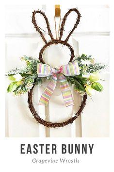 Easter bunny grapevine door hanger. Easter decor. Easter wreath. Easter decorations. Bunny. Easter. Wreath for door. Easter wreath for door. #affiliate #easter #frontdoor