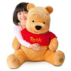 Disney Store Jumbo 38'' Winnie the Pooh Plush Bear Stuffed Animal Authentic and exclusive Disney Store product with reliable quality and durability. Measures approximately 38 lying flat from ear to toe. Measures approximately 27 seated. Red shirt has embroidered ''Pooh''. Left foot has ''Genuine Original Authentic Disney Store'' patch.  #Disney_Interactive_Studios #Toy