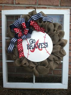 Braves Burlap Baseball Wreath