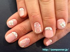 Nail was painted in one color from the base of the beige pink