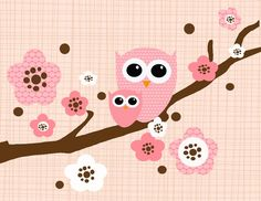 8x10 Two Owls on a Cherry Blossom Branch - Pink, Chocolate Brown, and White