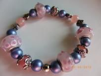 Pink blue stretch bracelet $6.99