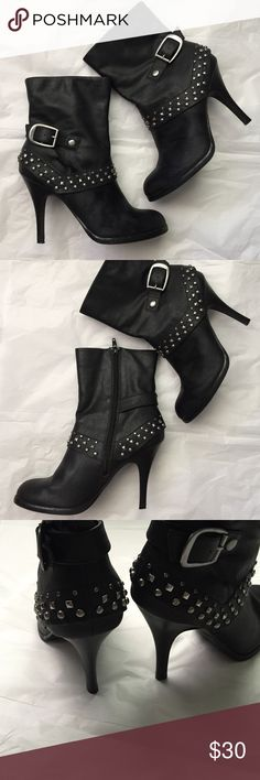ANA studded Boots! ANA rhinestone and studded Black boots! Inside zipper and buckle! Great boots/booties! Perfect for upcoming fall and winter! Size 7.5. Gently used condition! 4 inch heel. a.n.a Shoes Ankle Boots & Booties