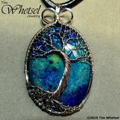 Sterling & Fine Silver Wire Wrap Tree of Life Pendant - Galaxy Glow Orgonite - Handmade Jewelry by Tim Whetsel