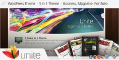 Unite - WordPress Business, Magazine Theme This is a premium WordPress theme with 5 pre-made skins including a dark theme and textured background theme. The theme is easy to modify and ready to be up and running out of the box. The PSD files included have been customized to allow fast skinning.