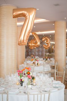 Balloon table numbers! how fun!   #weddings #tablenumbers #tablescape  www.soho63.com