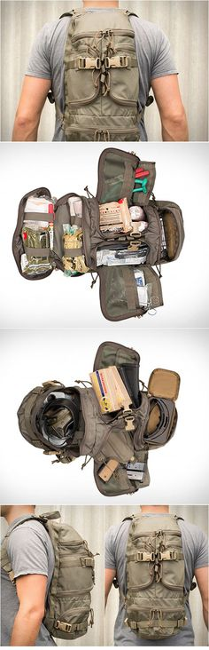 A survival backpack to take on your next camping trip in the great outdoors.
