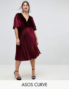 90b95046cb4 ASOS CURVE Pleated Velvet Kimono Midi Dress at asos.com