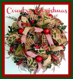 Burlap Mesh Mesh Country Christmas Wreath.