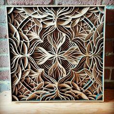 wood laser art Gabriel Schama [597 596] 2015 Laser Art, Laser Cut Wood, Laser Cutting, Book Sculpture, Sculptures, Fractal Patterns, Wood Carving Patterns, Woodworking Projects Plans, Mandala Art
