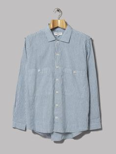 Y.M.C. Doc Savage Shirt (Blue Stripe Cotton Linen)