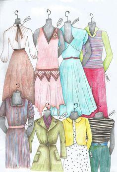 100 anos de moda - Desenho inspirado na evolução da moda ao londo do século XX. Cada modelo possui uma etiqueta da década equivalente.  - Esboçado com Lápis 2B, Lápis de cor e caneta de ponta fina preta.
