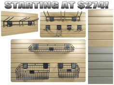 Slat-wall garage storage baskets and hooks - accessories and more