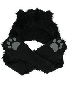 Faux Fur Animal Hat with Paws - Black Wolf