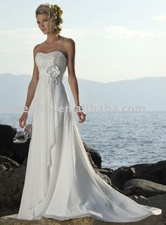 Nice flowing beach wedding dress.