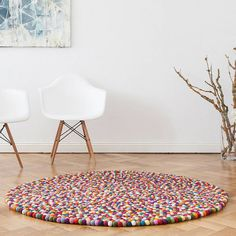 Grattify Round Felt Rug ($245) ❤ liked on Polyvore featuring home, rugs, circular area rugs, hand made rugs, circular rugs, felt rug and round area rugs