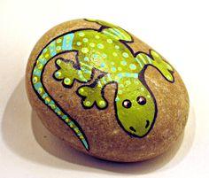 Hand Paint Medium Blue and Yellow Lizard Rock by getarock on Etsy, $17.00