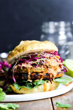 Teriyaki Veggie Burger with Mango Cabbage Slaw | Sweet Earth Foods