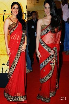 Bollywood Actress Saree Collections: Bollywood Actress kareena kapoor Looks Hot in Red Saree with Blue Border @ Award Function