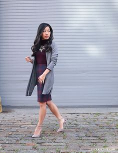 Fall work outfit ideas // plaid ann taylor skirt + burgundy sweater + long gray cardigan for the office