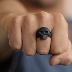 Black Skull Ring Man Jewelry Personalize by carpediemjewellery